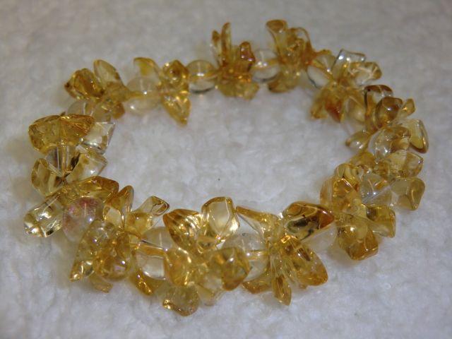 画像1: 黄水晶(シトリン)とルチルクォーツの花ブレス<B-1208>