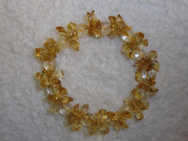 画像2: 黄水晶(シトリン)とルチルクォーツの花ブレス<B-1208>