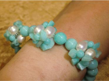 画像3: 花編みアマゾナイトと淡水真珠のブレス