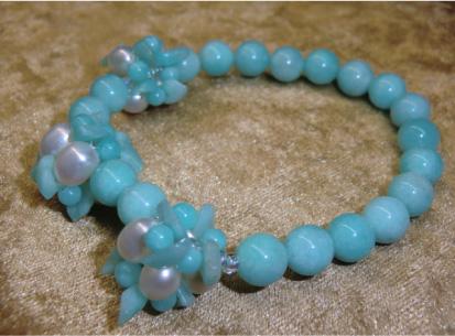 画像2: 花編みアマゾナイトと淡水真珠のブレス